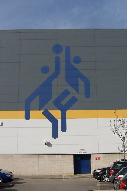Logo on the side of Hillsborough Leisure Centre