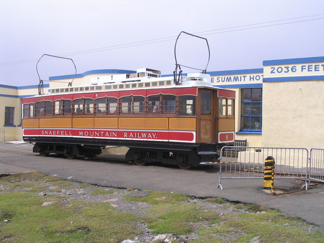 Tram at the summit station of the Snaefell Mountain Railway