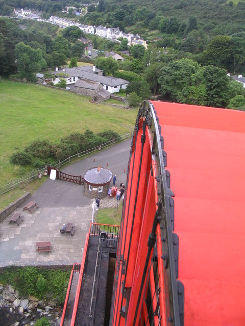 The view down the valley from the top of Laxey Wheel