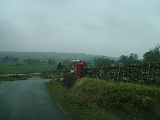 Isolated telephone box near Low Knipe