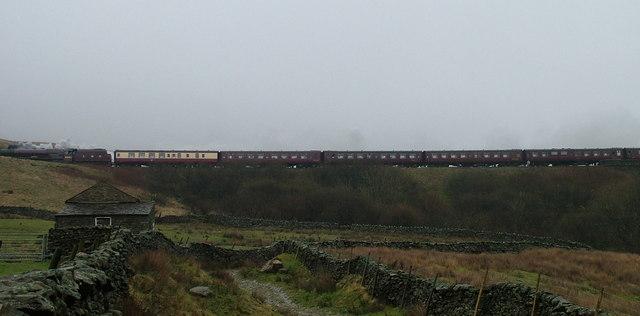 Steam train on Artengill Viaduct