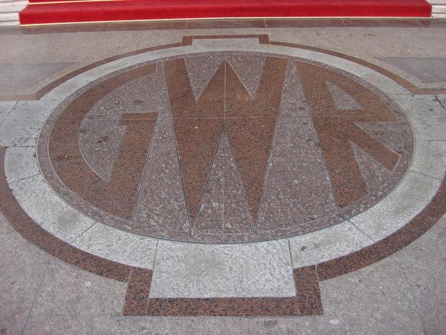 Great Western Railway company Insignia outside Hilton London Paddington