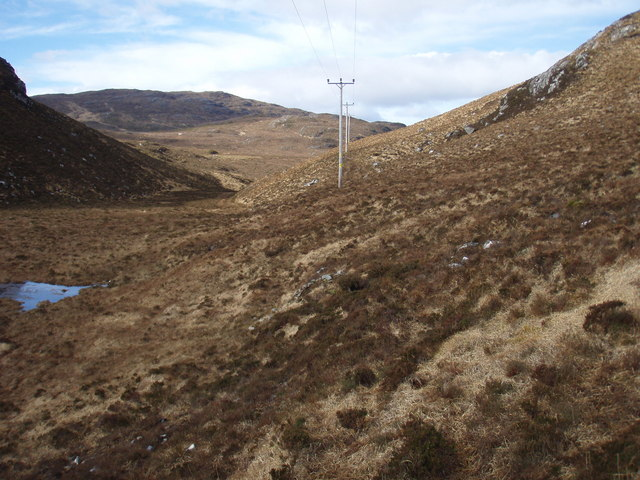 Power lines from the Garbhaig hydro scheme