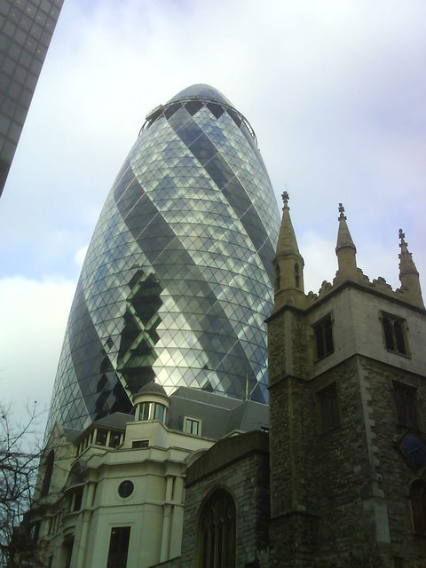 Old and New - Gherkin and a church
