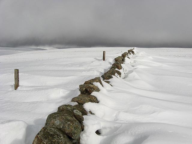 Snow drifts by a dyke leading to Firthybrig Head