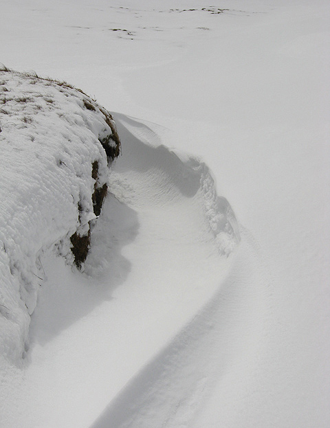 Peat hag snow drift