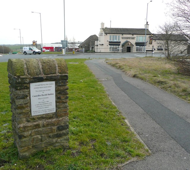 Plaque and Blacksmith's Arms, Grange Moor, Whitley Upper