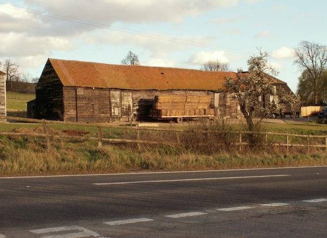 An old barn at Holyfield Farm along the B194