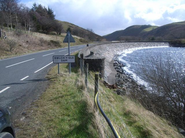 Bwlch y Gle dam, Llyn Clywedog and B4518