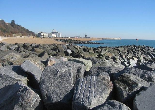 Rock groynes &  Folkestone Harbour