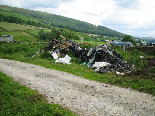 Flytipping by a public footpath near Skyreholme.