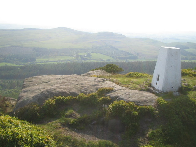 Trig point and views from Crookrise Crag, above Embsay.
