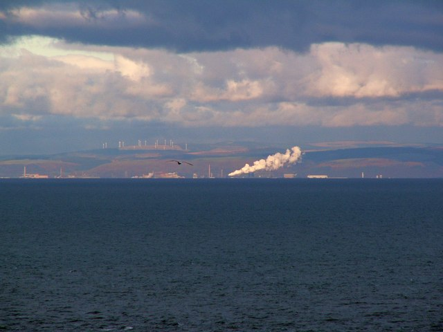 Ffynnon Oer wind farm behind Port Talbot