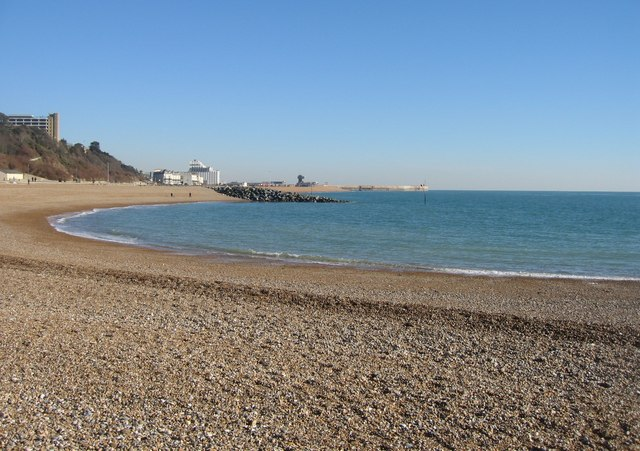 Distant view of Folkestone harbour