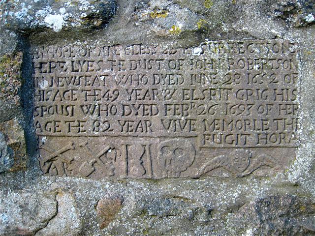 1693 gravestone in the old kirkyard of St Fergus