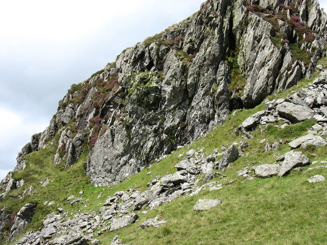 Debris strewn base of frost shattered crag
