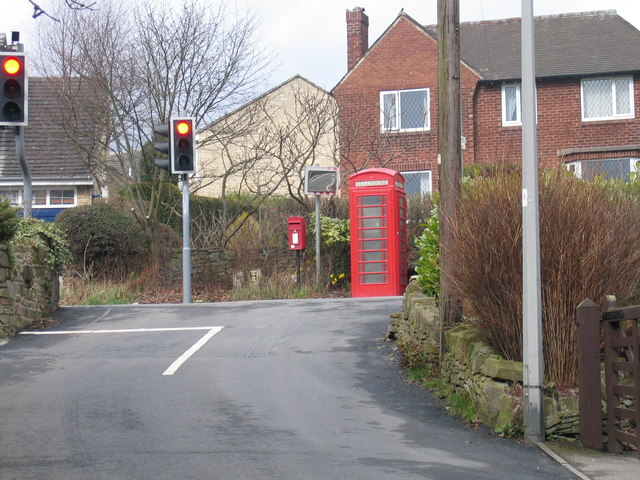 Telephone Box and Post Box in Barnsley Road, Flockton