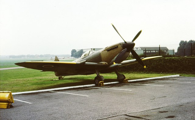 Spitfire in the Officers' Mess car park at RAF Northolt