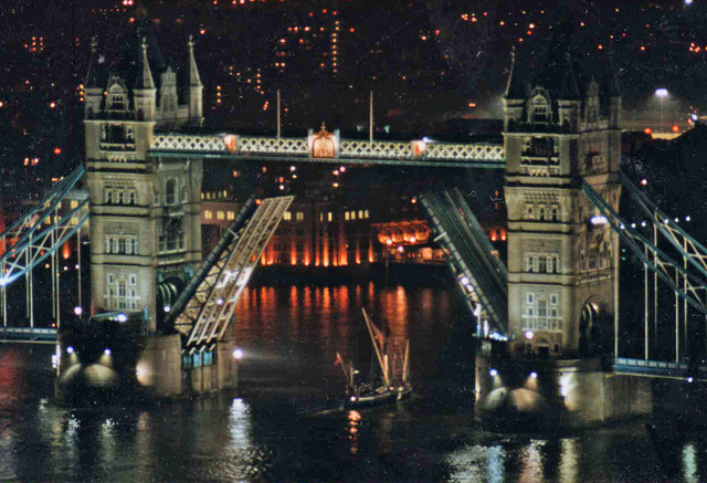 Tower Bridge at Night with Thames Barge, London
