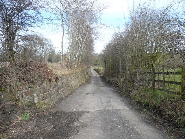 Lane running parallel to railway in direction of (Holm Lane) B5035