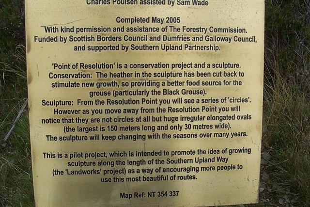 Plaque explaining the heather sculpture