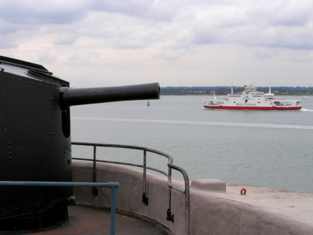 Red Funnel Ferry from Calshot Castle, Hampshire