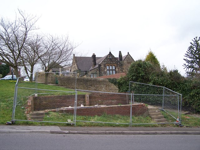 Demolished Toilets in Worrall, with converted School building in background