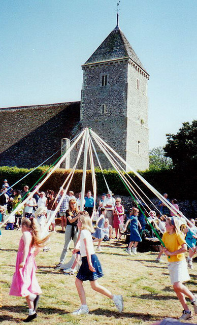 Maypole Dancing at Bishopstone Church, Sussex