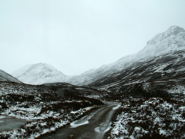 The track from Lairig Leacach bothy