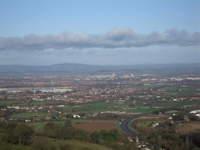 View from Barrow Wake over Gloucester to May Hill