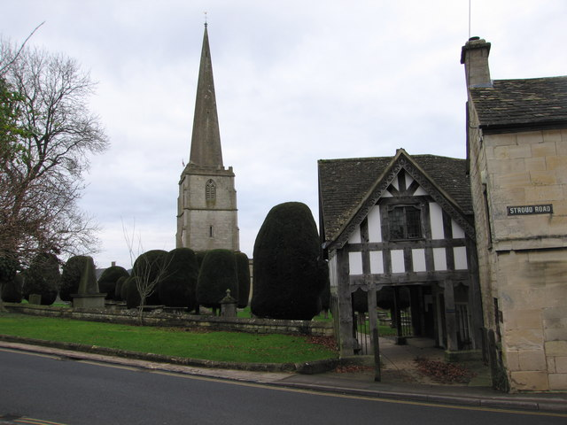Painswick lych gate and church spire