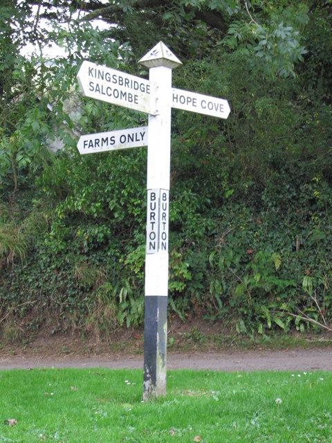 Burton, Galmpton, signpost