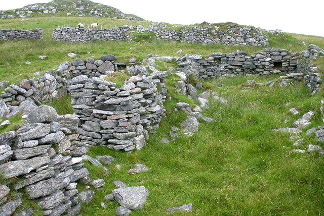 Ruined croft houses on Vuia Mhor