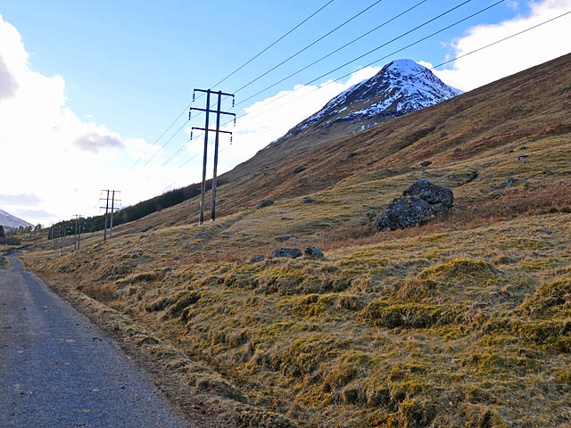 The lower slopes of Meall Dubh and the Glen Lyon road