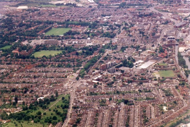 Aerial view across East Reading