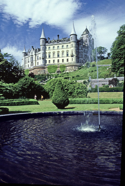 Fountain and garden at Dunrobin Castle, Sutherland