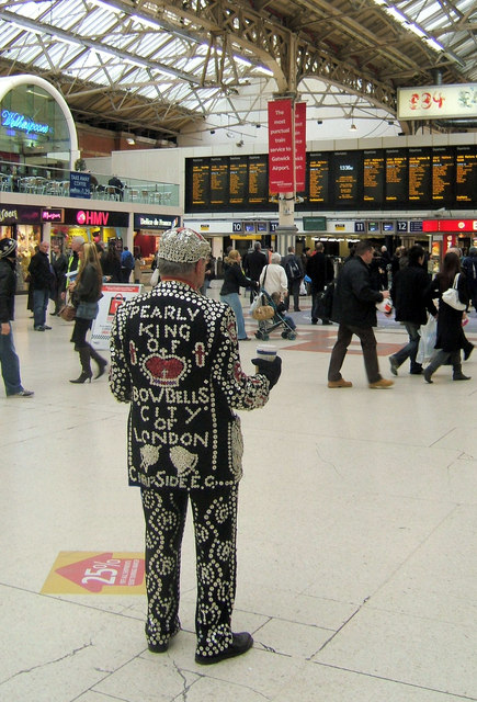 Pearly King on the Central Concourse, Victoria Station, London SW1