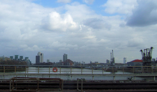 River Thames from a train on Grosvenor Railway Bridge, London SW1