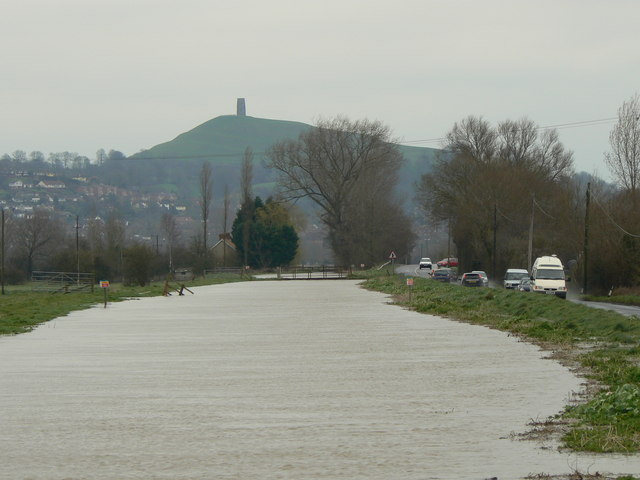 River Brue and Glastonbury Tor in March floods