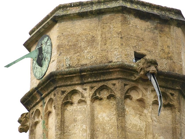 Sundial and gargoyle, Church of St. John the Baptist, Axbridge