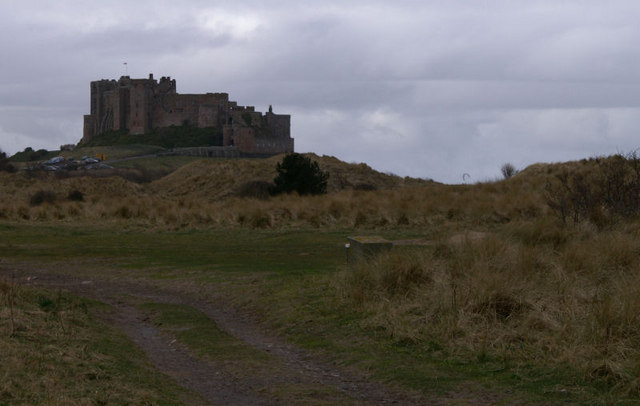 Dunes and castle, Bamburgh