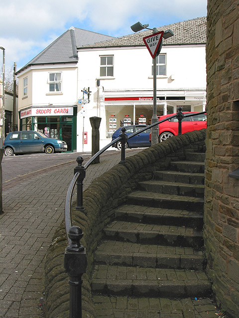 Steps around the clock tower, Cinderford