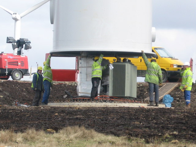 Scout Moor Wind Farm Tower No 7 under construction