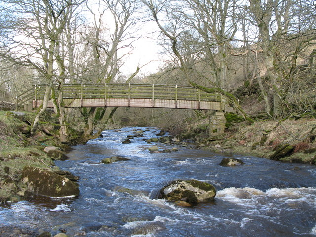 Rookhope Burn and the footbridge for the Weardale Way