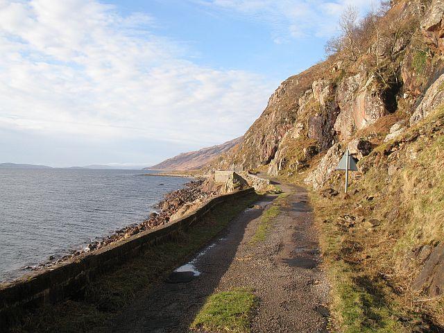 The Kingairloch Road under A' Mhaodalach