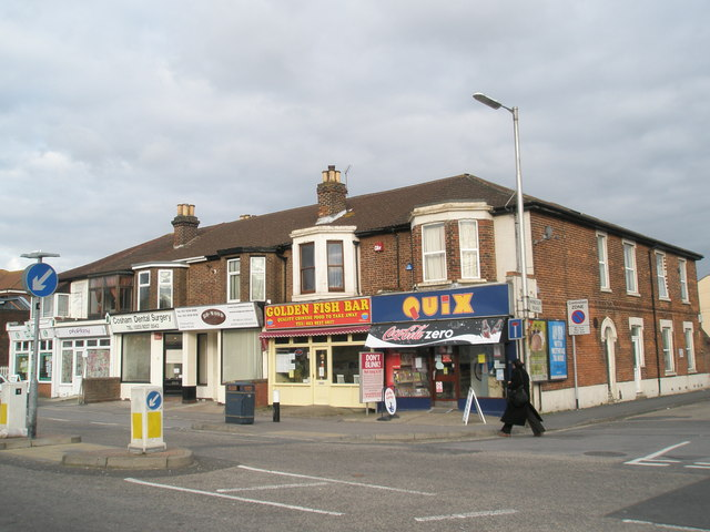 Rows of shops south of Cosham Station