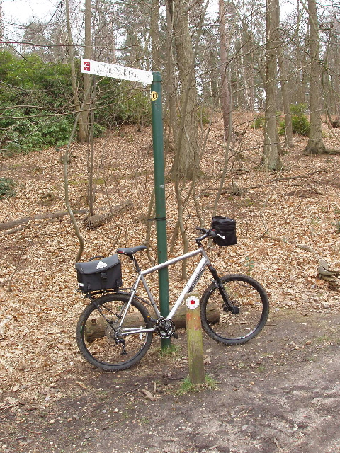 Signpost and bike, Swinley Forest