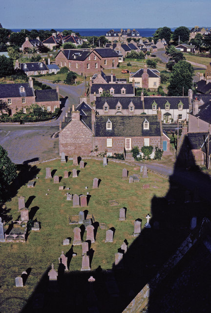 Graveyard from tower of Dornoch Cathedral, Sutherland