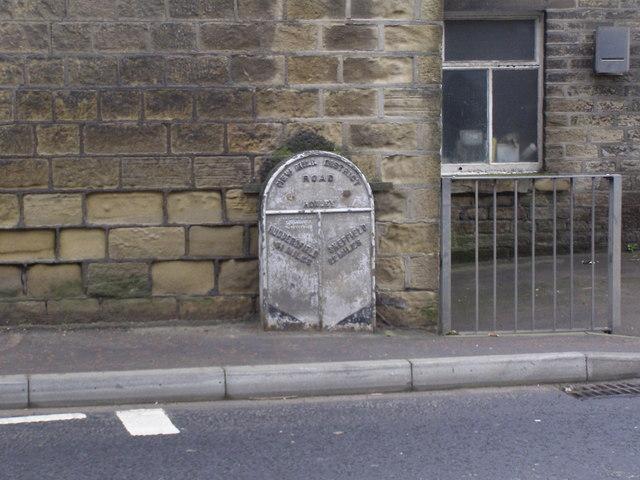 Metal Milepost on New Mill Road, Brockholes