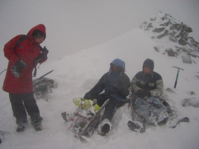 Beinn a'Chlachair summit cairn in winter